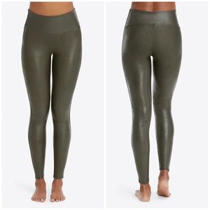 Spanx Olive Green Faux Leather Leggings